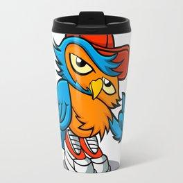 owl cartoon in hip-hop hat. Travel Mug