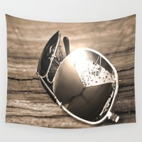 sunglasses Wall Tapestries featuring Sunglasses by Cs025