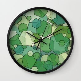 Converging Hexes - Green and Yellow Wall Clock