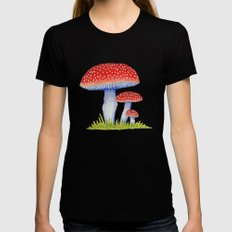 Woodland Toadstools Black SMALL Womens Fitted Tee