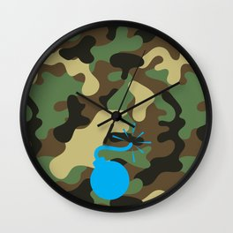 CAMO & LIGHT BLUE BOMB DIGGITY Wall Clock