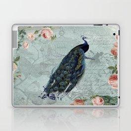 Vintage Victorian Peacock Bird and Roses Illustration Laptop & iPad Skin