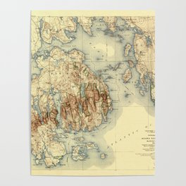 Map Of Acadia National Park 1931 Poster