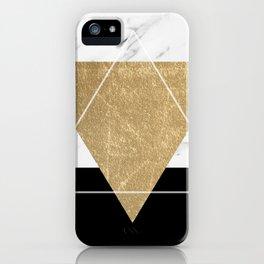 Golden marble deco geometric iPhone Case