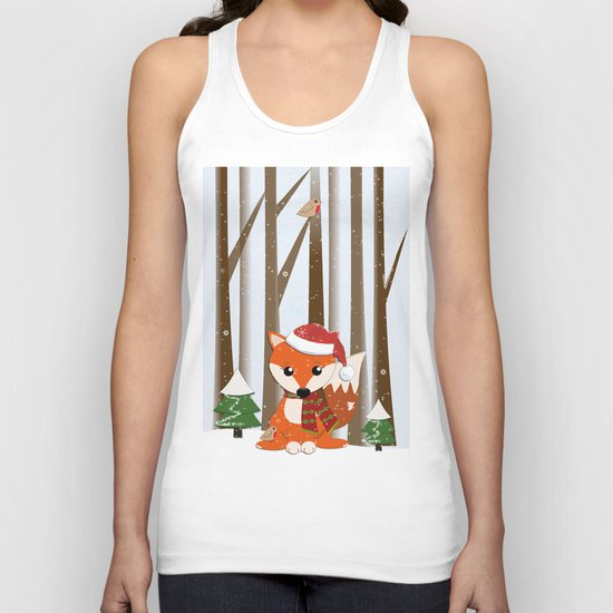 Cute Foxes with Santa hats in a snowy winter world Unisex Tank Top