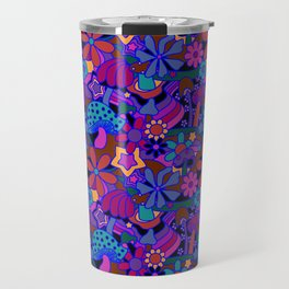 70's Psychedelic Garden in Cool Jeweltone Travel Mug