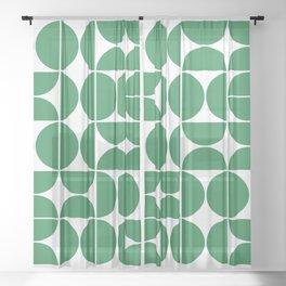 Mid Century Modern Geometric 04 Green Sheer Curtain