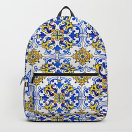 Blue Yellow Seamless Pattern Antique Portuguese Azulejo Tile Backpack