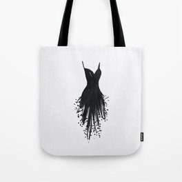 Little Black Fringe Dress Tote Bag