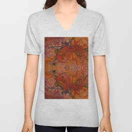 Branches Aflame with Flower Unisex V-Neck