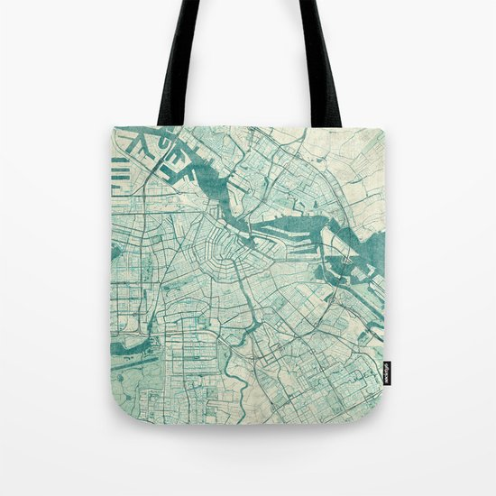 Amsterdam Map Blue Vintage Tote Bag