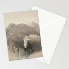 Vintage Print - The Holy Land, Vol 3 (1843) - Gebil Hor. Mount Hor, from the Cliffs Encircling Petra Stationery Cards