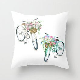 Two Vintage Bicycles With Flower Baskets Throw Pillow