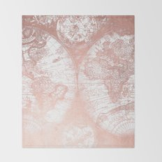 Rose Gold Pink Antique World Map by Nature Magick Throw Blanket