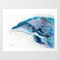 dolphin Art Prints featuring Dolphin  by Slaveika Aladjova