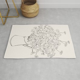 Flowers sketch art  -Daisy - Bouquet  Rug
