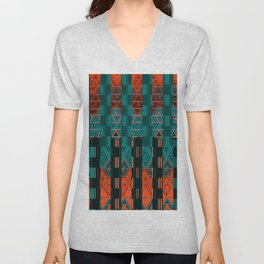 Abstract Geometric Glitch Green Neon Hyperspace Unisex V-Neck