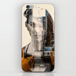Yellow Cabs - Double Exposure Poster iPhone Skin