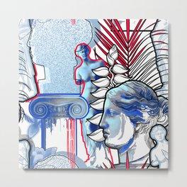 Anciet Design with Venus de Milo sculpture, column and flowers Metal Print
