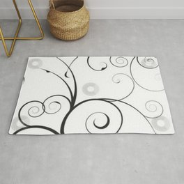 Black and Gray Swirls and Circles Rug
