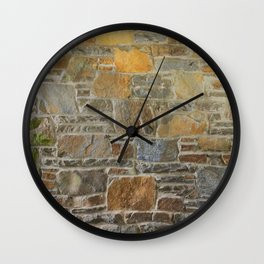 Avondale Brown Stone Wall and Mortar Texture Photograph Wall Clock