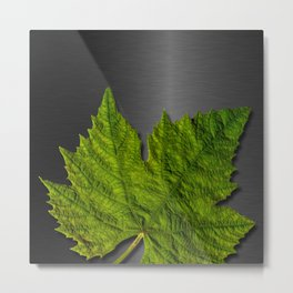 Green Leaf & Metallic Background Metal Print