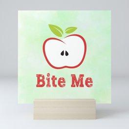 Red Apple Illustration - Bite Me Typography Mini Art Print