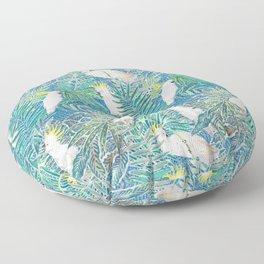 cockatoos playing around in a tropical garden watercolor Floor Pillow