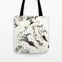 submarine Tote Bags featuring submarine by Mariana Beldi