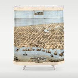 Map Of Galveston 1871 Shower Curtain