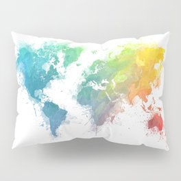 World Map splash 1 Pillow Sham