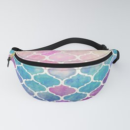 Rainbow Pastel Watercolor Moroccan Pattern Fanny Pack