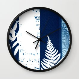 Fragments of the Past (26), art print, collage, blue print, cyanotype print, wall art, wall decor Wall Clock