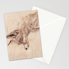 Red Fox Portrait - Drawing by Burning on Wood - Pyrography art Stationery Cards