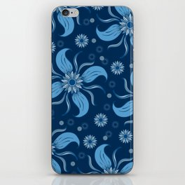 Floral Obscura Dark Blue iPhone Skin