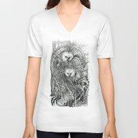 owls V-neck T-shirts featuring Owls by Irina Vinnik