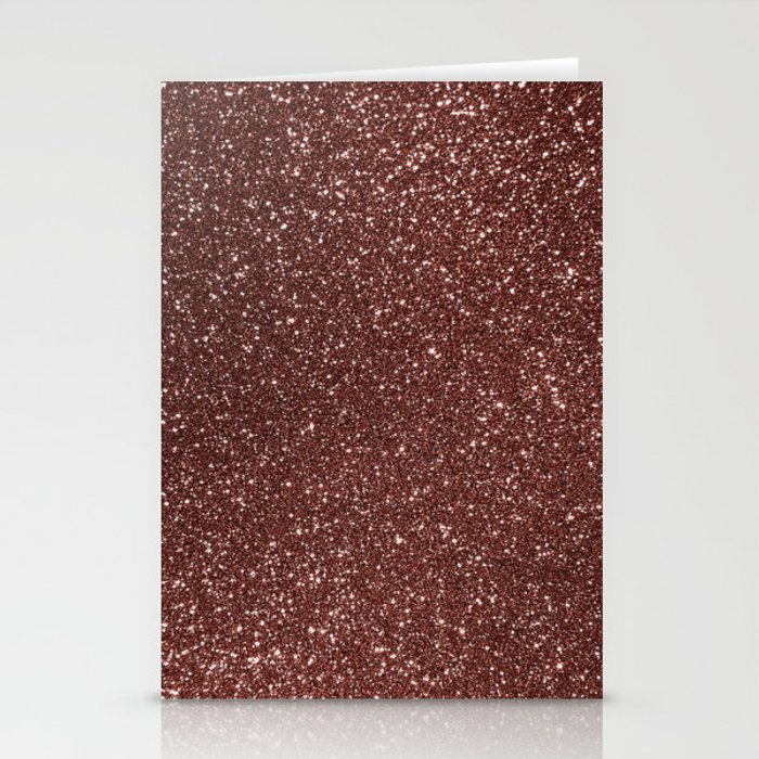 Ruby Pink Copper Glitter Stationery Cards