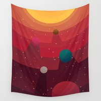 solar system Wall Tapestries featuring Solar System by badOdds