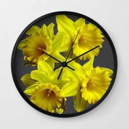 YELLOW SPRING DAFFODILS & CHARCOAL GREY COLOR Wall Clock