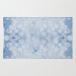 Blue white sparkles bokeh abstract Rug