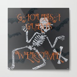 Ghoulish Guests Welcome Metal Print