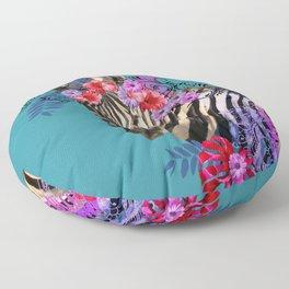 Zebra Flower Fantasy Artwork - Hibiscus Monstera Leaves Floor Pillow