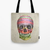 navajo Tote Bags featuring Navajo Skull  by Terry Fan