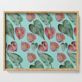 Botanical on Turquoise. Tropical Plants. Serving Tray