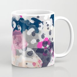 Nico - Abstract painting in modern fresh colors navy, mint, pink, cream, white, and gold Coffee Mug