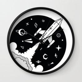 Pencil Rocket Wall Clock