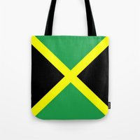 jamaica Tote Bags featuring Jamaica Flag by Barrier Style & Design