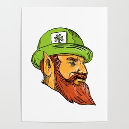 Leprechaun Head Side Drawing Poster