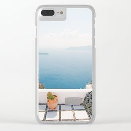 View on Santorini island Clear iPhone Case