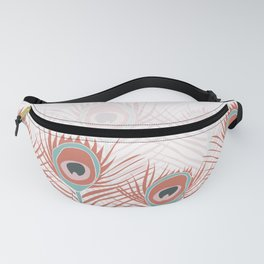 Peacock feathers in living coral and blue colors Fanny Pack
